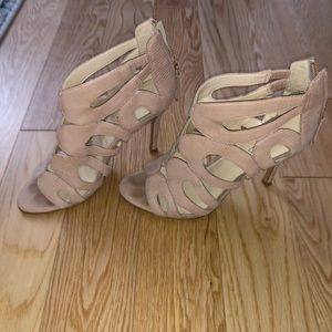 Nine West Nude Open-toe leather Heel with Cutouts